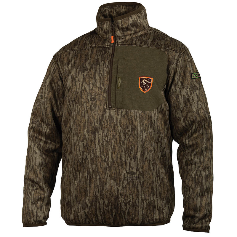 Drake Non-Typical Endurance Quarter Zip Hunting Jacket With Agion in Mossy Oak Bottomland Color