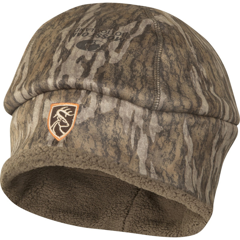 Drake Non-Typical Sherpa Silencer Beanie in Mossy Oak Bottomland Color