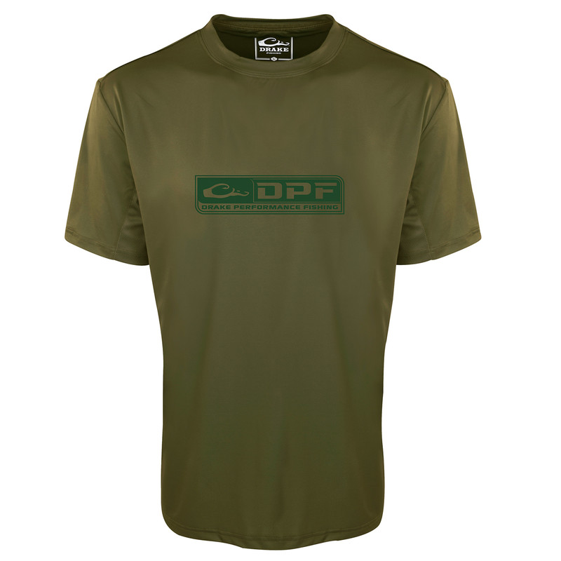 Drake Shield 4 Arched Mesh Back Crew Short Sleeve Fishing Shirt in Olive Color