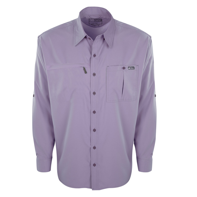Drake DPF Flyweight Wingshooter's Shirt Long Sleeve in Lavender Violet Color