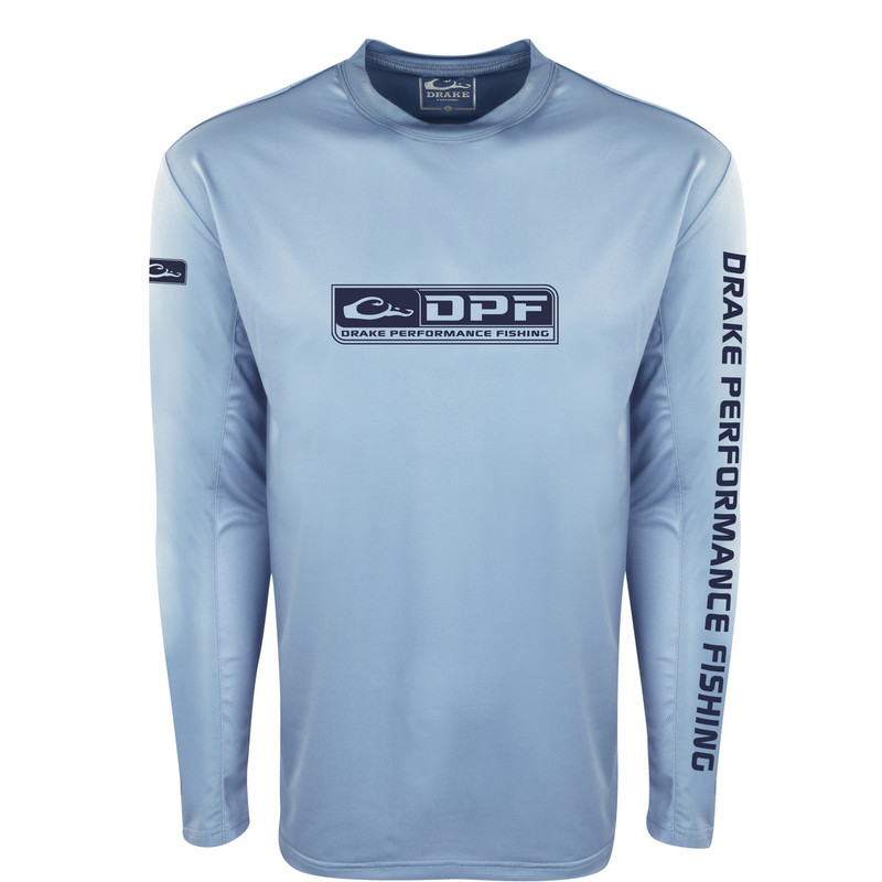 Drake Shield4 Arched Mesh Back Crew Long Sleeve in Light Blue Color