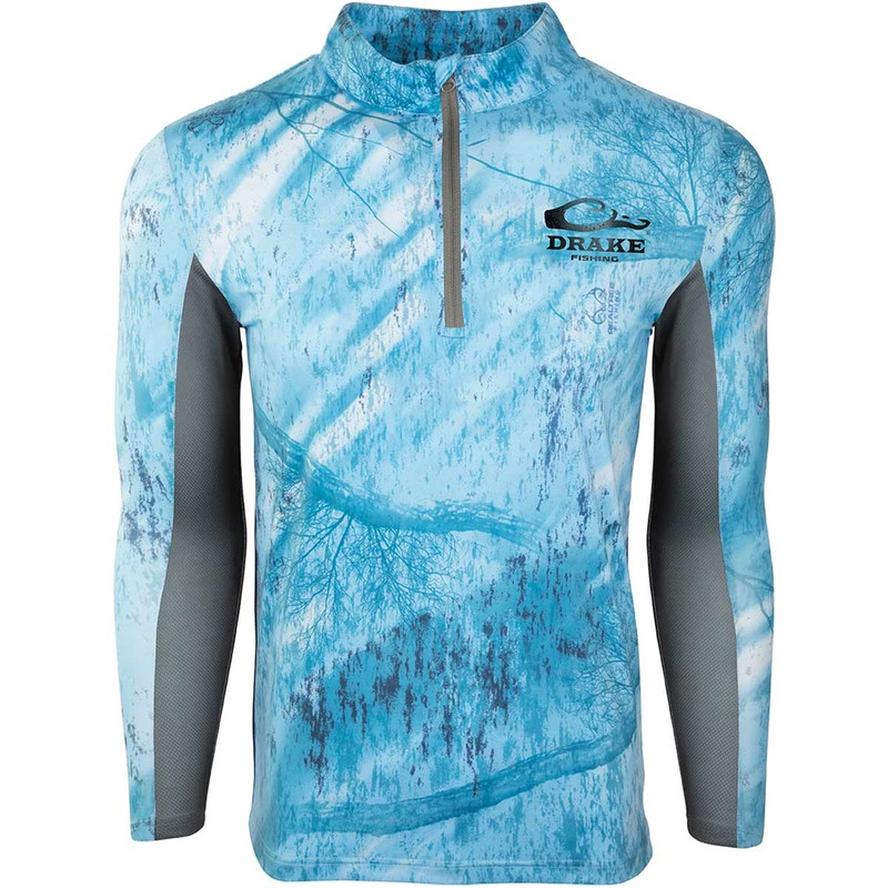 Drake Shield-4 Arched Mesh Back Quarter Zip Long Sleeve Fishing Shirt in Light Blue Color