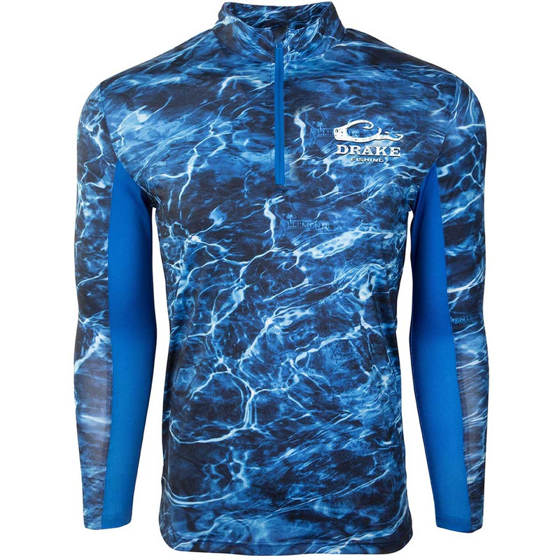 Drake Shield-4 Arched Mesh Back Quarter Zip Long Sleeve Fishing Shirt in Nautical Blue Color