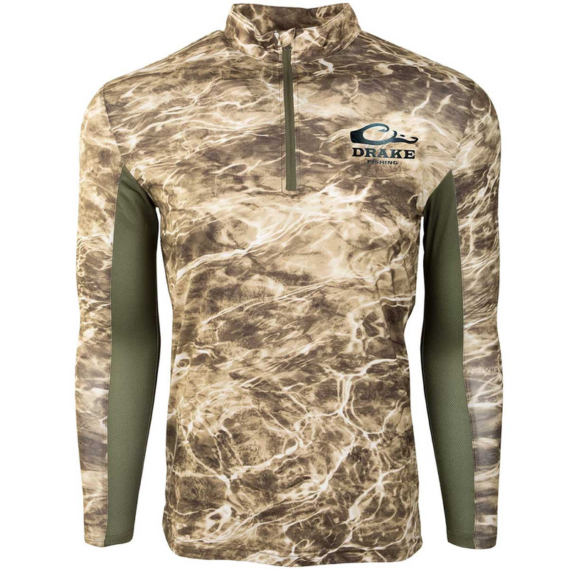 Drake Shield-4 Arched Mesh Back Quarter Zip Long Sleeve Fishing Shirt in Olive Color