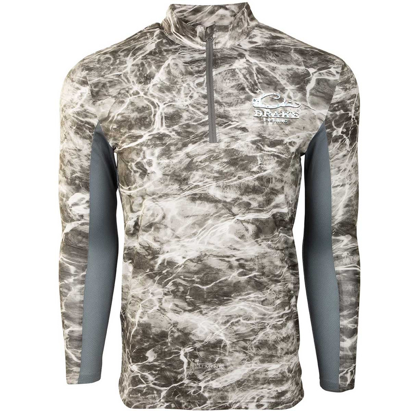 Drake Shield-4 Arched Mesh Back Quarter Zip Long Sleeve Fishing Shirt in Smoked Pearl Color