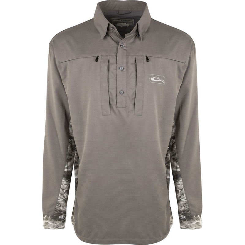 Drake Shield 4 DPF Cast-Away Performance Long Sleeve Shirt in Gray Mossy Oak Manta Color