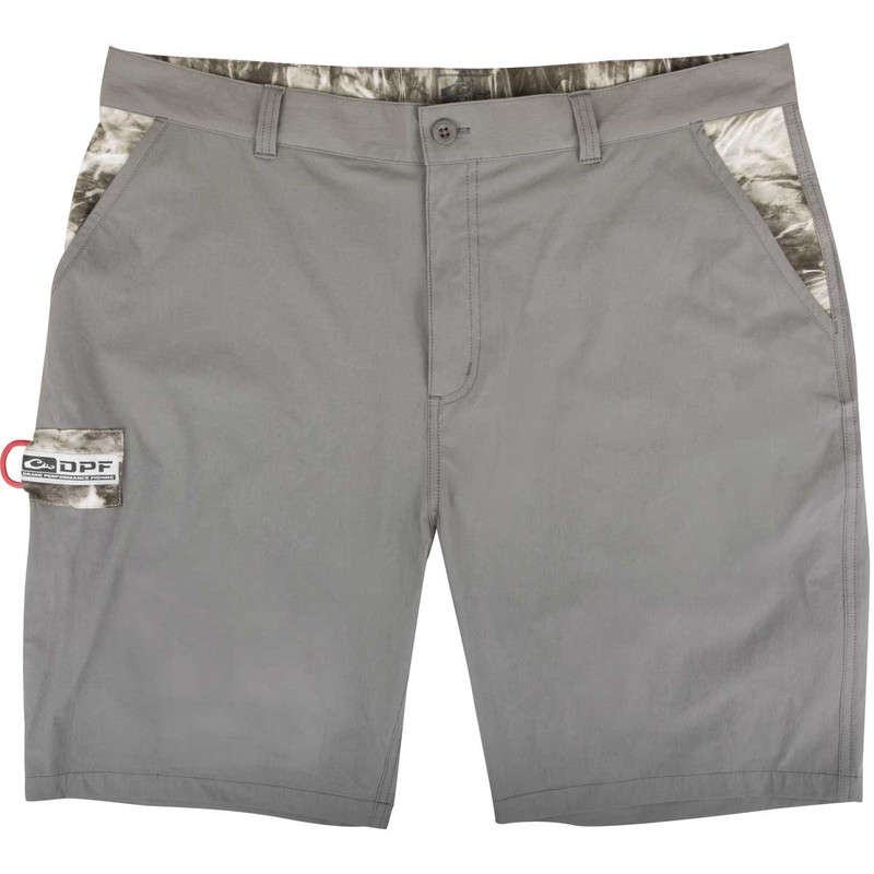 Drake Kill Switch Performance Stretch Shorts in Gray Mossy Oak Manta Color