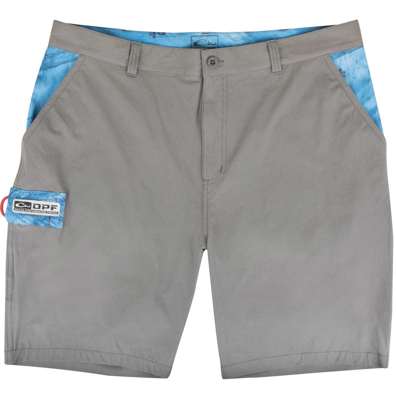 Drake Kill Switch Performance Stretch Shorts in Gray Realtree Dolphin Color