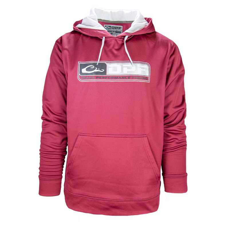 Drake Performance Fishing Hoodie in Maroon White Color