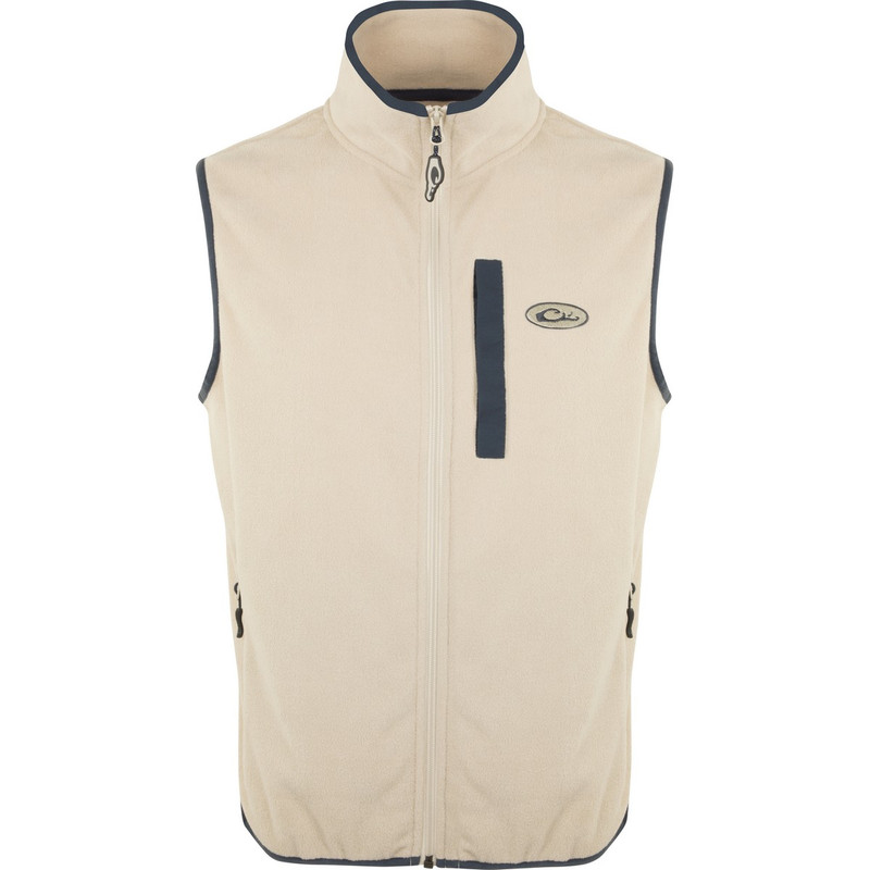 Drake Youth Camp Fleece Vest in Oatmeal Navy Color