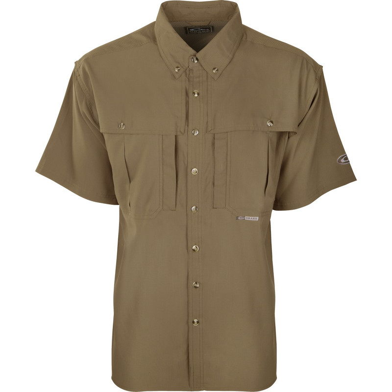 Drake Youth Flyweight Wingshooter's Short Sleeve Shirt in Khaki Color