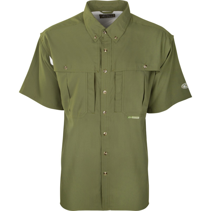 Drake Youth Flyweight Wingshooter's Short Sleeve Shirt in Light Olive Color
