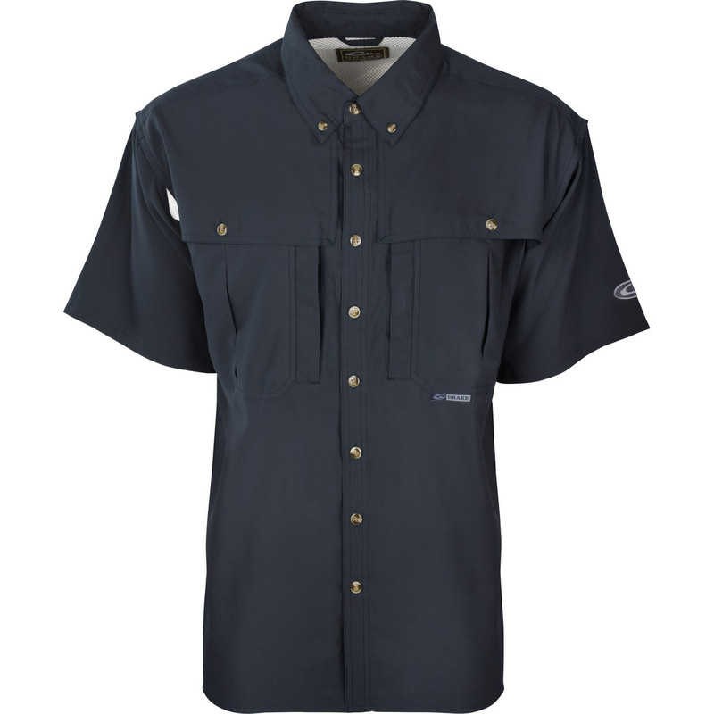 Drake Youth Flyweight Wingshooter's Short Sleeve Shirt in Navy Color