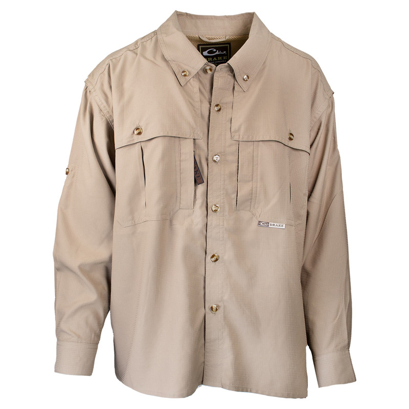 Drake Youth Flyweight Wingshooter's Long Sleeve Shirt in Khaki Color