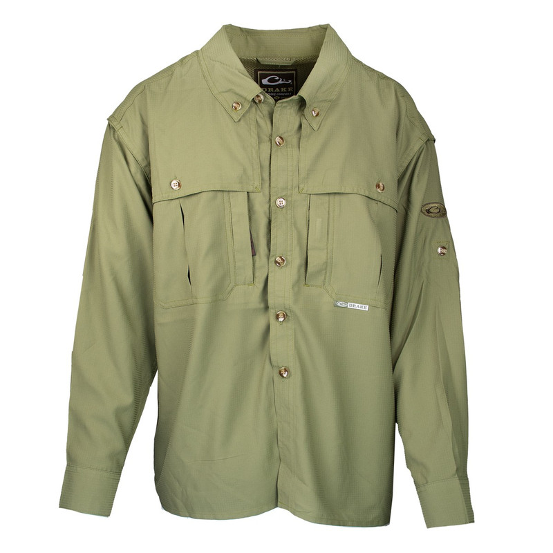 Drake Youth Flyweight Wingshooter's Long Sleeve Shirt in Light Olive Color