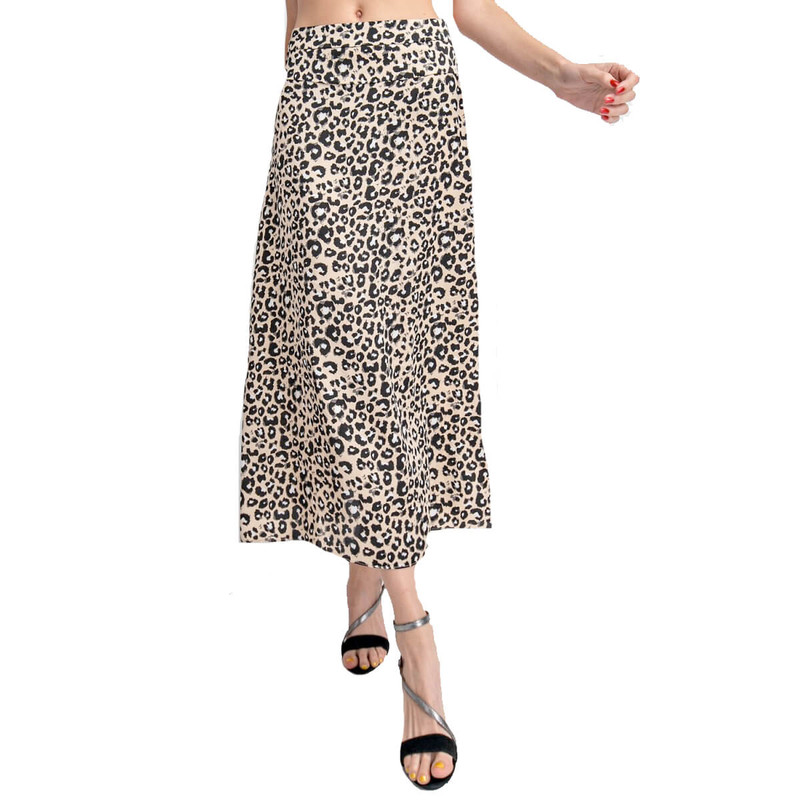 Easel Leopard Print Skirt in Grey Color
