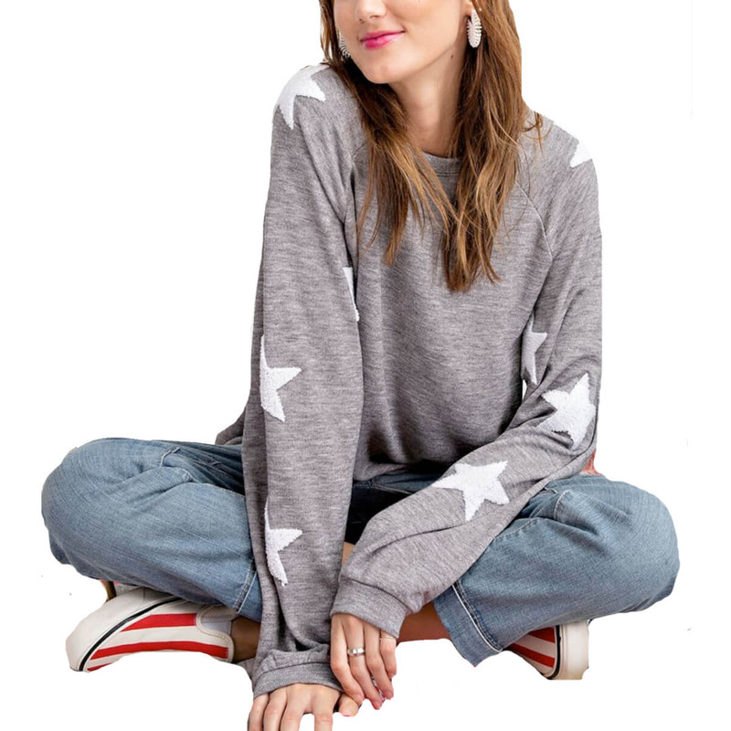 Easel Star Struck Pullover in Heather Grey Color