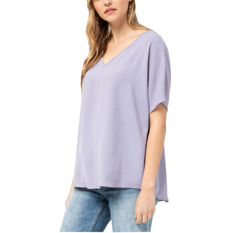 Plus Size V-Neck Sheer Short Sleeve Top in Lavender Color