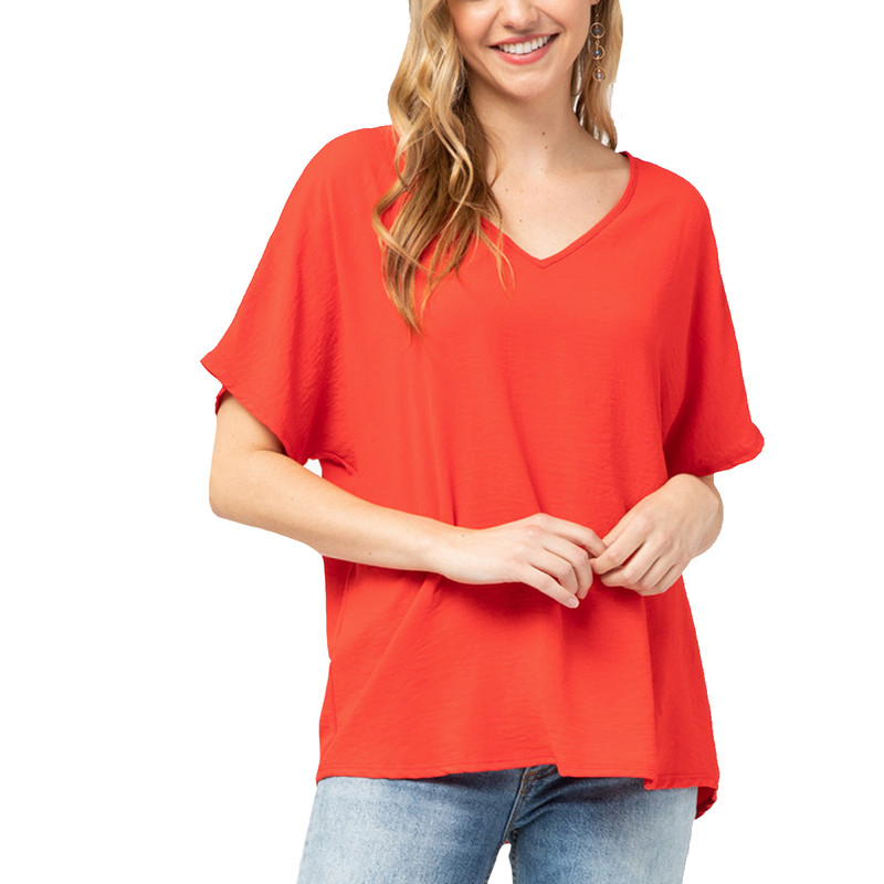 Plus Size V-Neck Sheer Short Sleeve Top in Tomato Color
