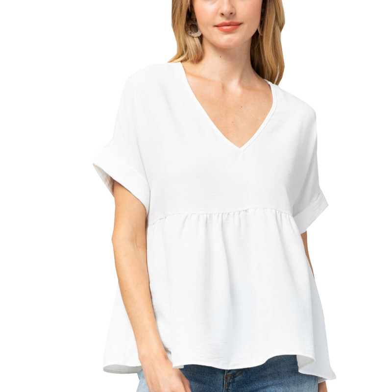 Entro Babydoll Top in Off White