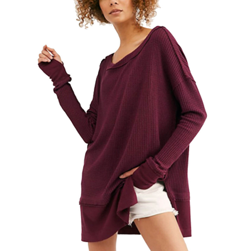 Free People North Shore Thermal in Wine Color