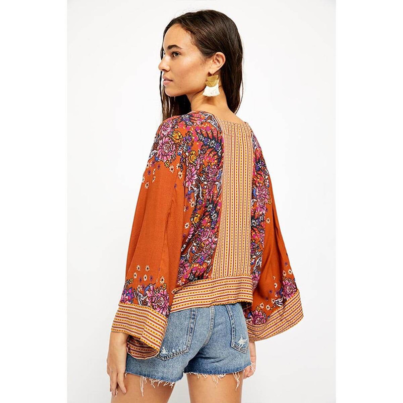Free People Mix-N-Match Blouse in Burnt Orange Color