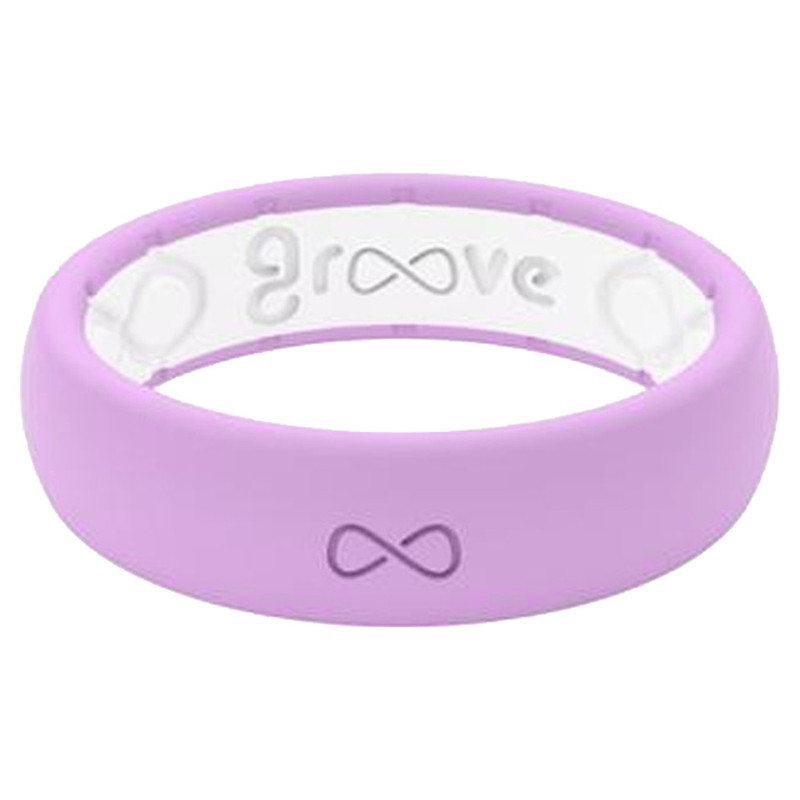Groove Thin Silicone Ring - Solid Colors in Lavender White Color