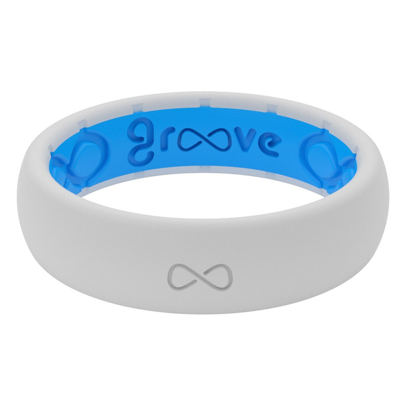 Groove Thin Silicone Ring - Solid Colors in White Blue Color