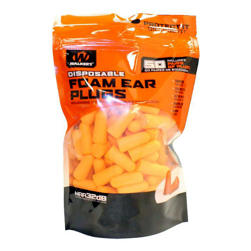 Walker's Game Ear Foam Ear Plugs- 50 pair bag