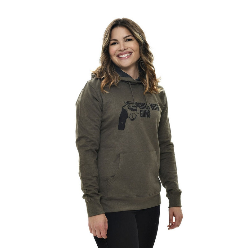 Girls With Guns Armed Hoodie in Olive Color