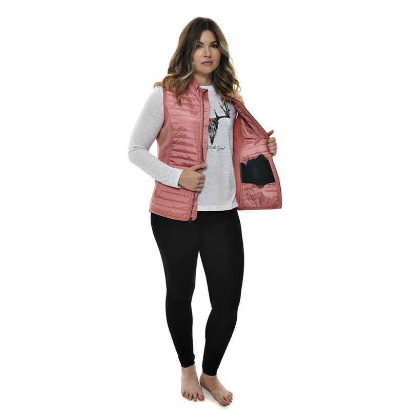 Girls With Guns Concealed Carry Puffer Vest in Dusty Rose Color