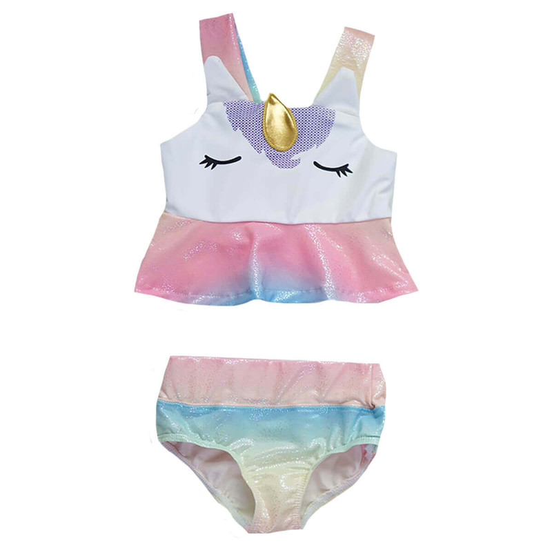 Honeydew Girl's Beautiful Unicorn 2 pc Swimsuit in Rainbow Color