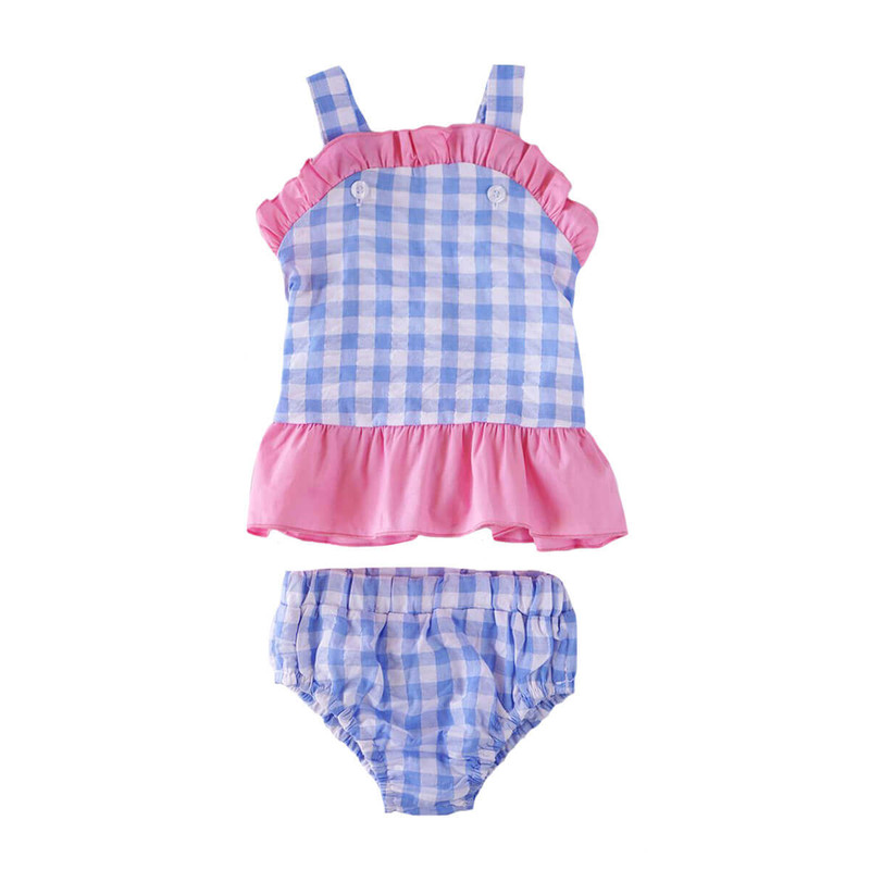 Honeydew Girls 2 pc Seersucker Swim Suit in Blue Coral Color