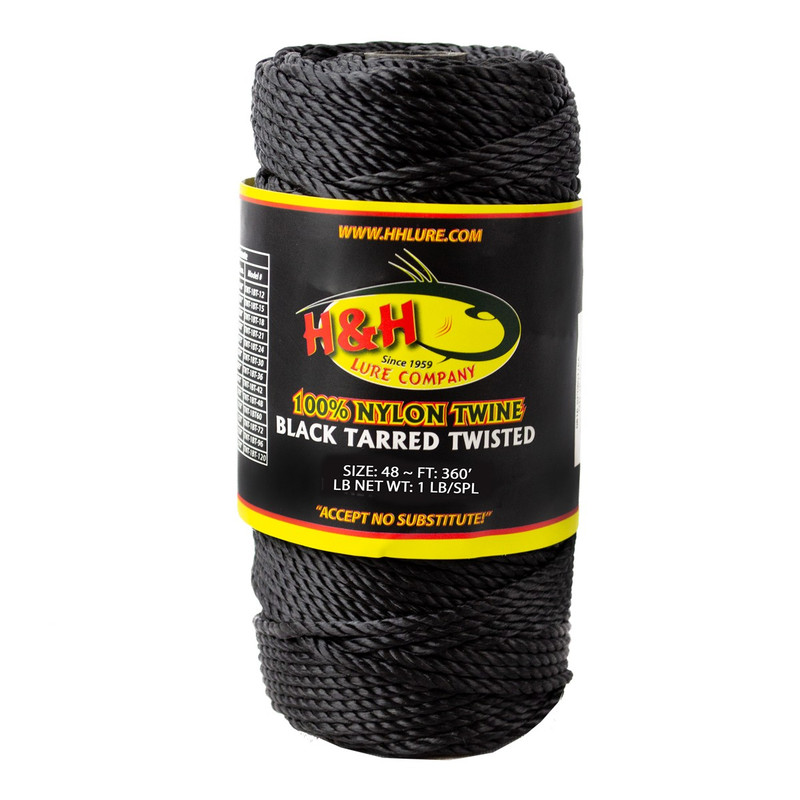 H & H Lure Black Tarred Twisted Twine in 48 ALL SIZES