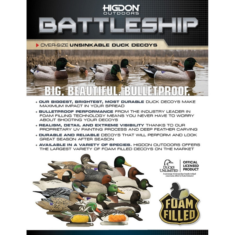 Higdon Powers Pack Battleship Foam Filled Mallard Duck Decoys with Flocked Heads 6 Pack