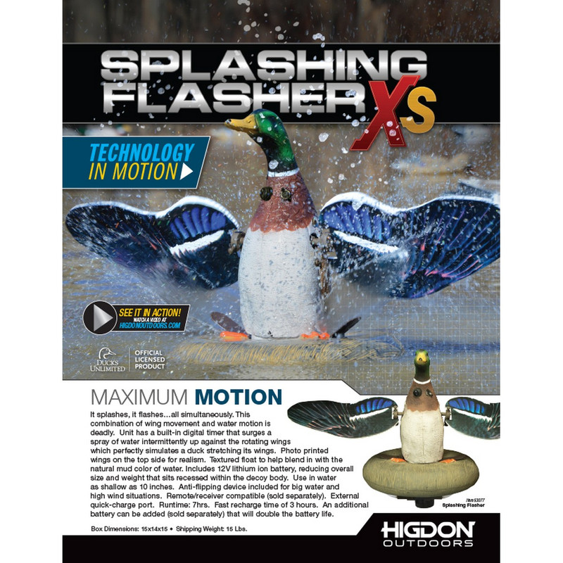 Higdon XS Splashing Flasher 12V Mallard Drake Motion Decoy with Timer