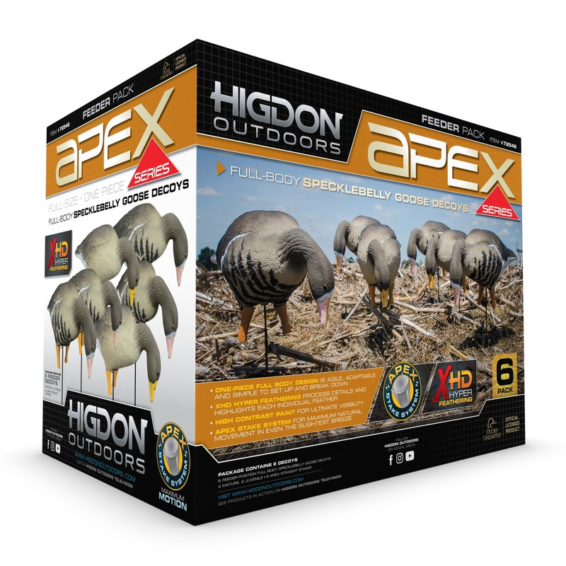 Higdon APEX Full-Size Full Body Specklebelly Feeder Goose Decoys - 6 Pack