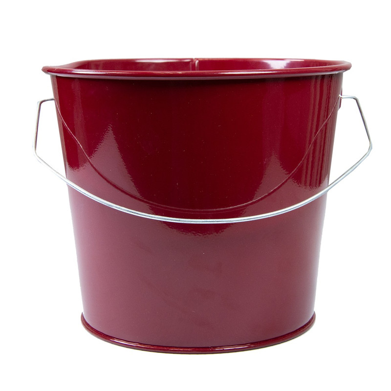 Holiday Tins 2 QT. Powder Coat Bucket in Burgundy Color