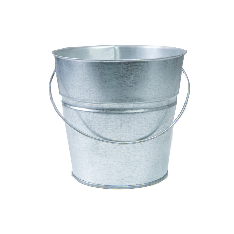 Holiday Tins 2 QT. Powder Coat Bucket in Silver Color