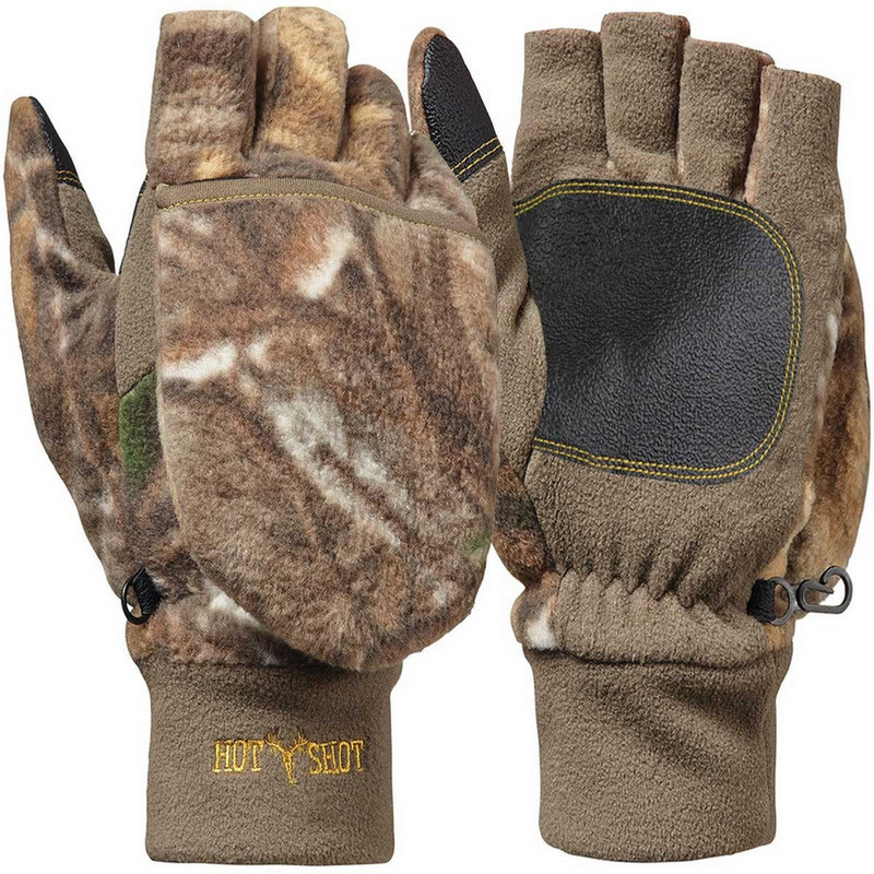 Jacob Ash Bulls-Eye Fleece Pop-Top Insulated Gloves in Realtree Xtra Color