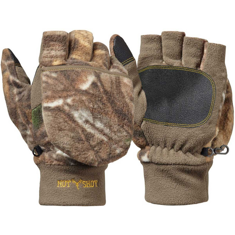 Jacob Ash Youth Bulls-Eye Pop Top Fleece Gloves in Realtree Edge Color