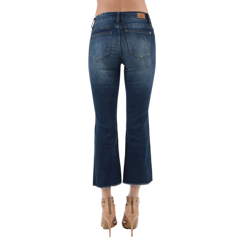 Judy Blue Cropped Flare Raw Hem Jeans in Dark Wash Color