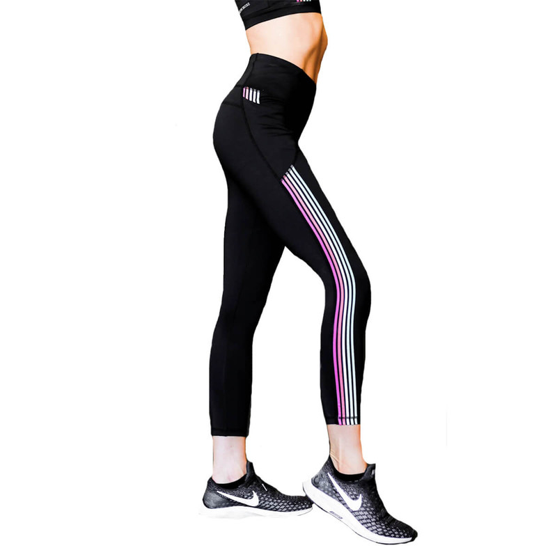 Jadelynn Brooke Rainbow Stripe Leggings in Black Color