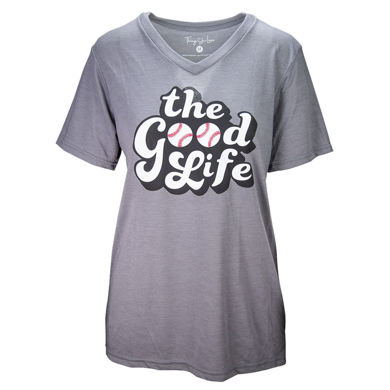 Jadelynn Brooke The Good Life Short Sleeve Crew in Grey Heather Color