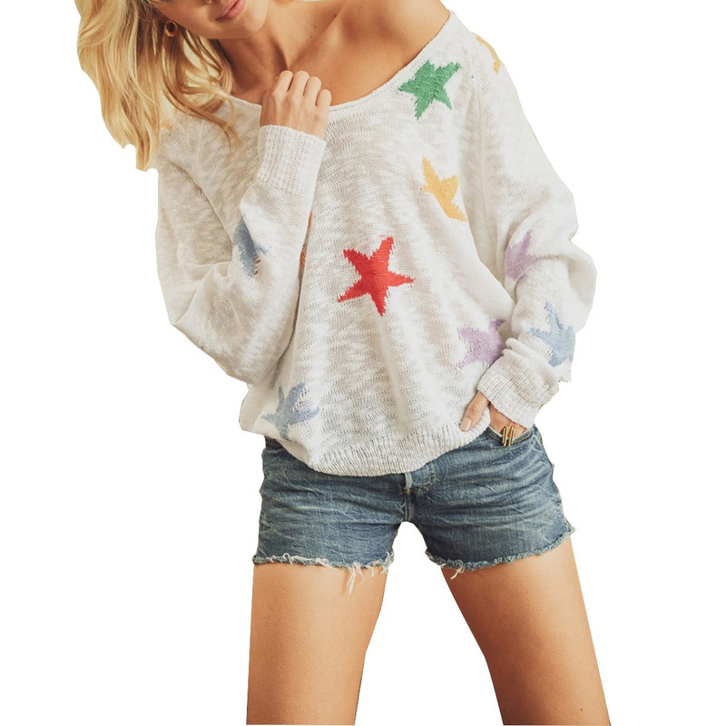 Jodifl Multi Color Star Light Weight Sweater in Ivory Color