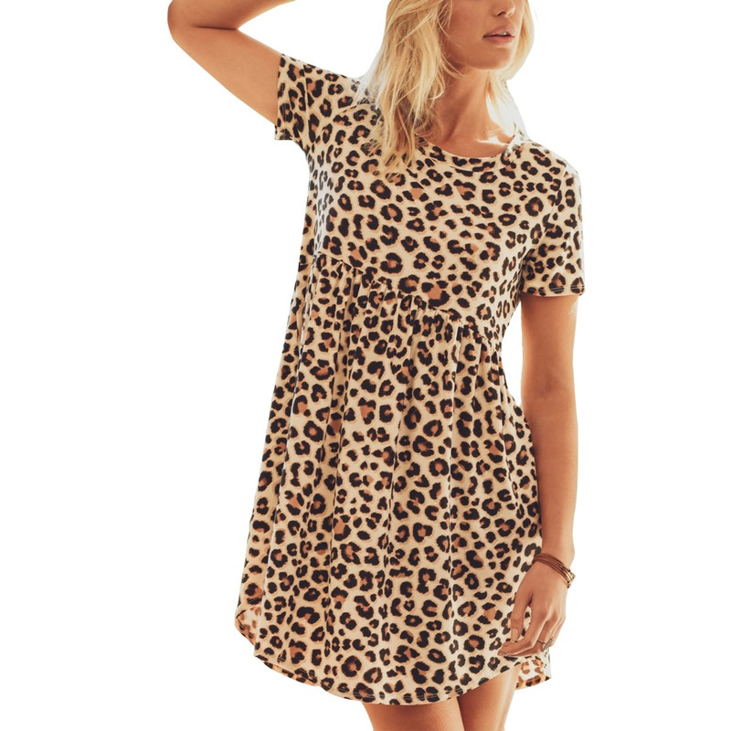Jodifl Leopard Printed Baby Doll Dress in Leopard Color