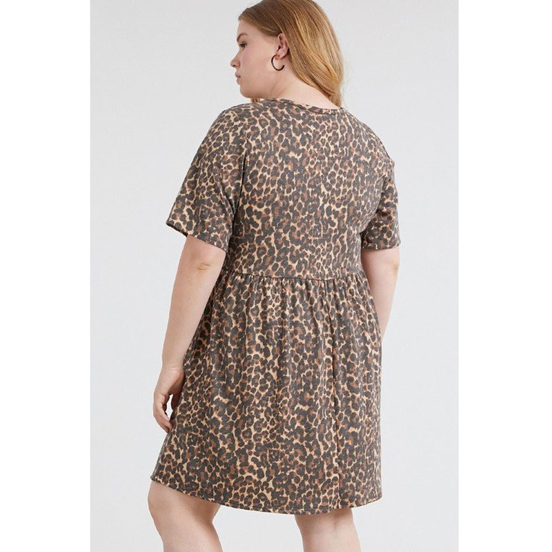 Jodifl Plus Size Leopard Print Dress in Brown Color