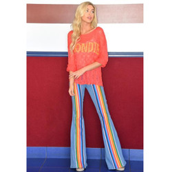 best quality best prices big discount of 2019 Judith March Rainbow Stripe Denim Flare Jeans