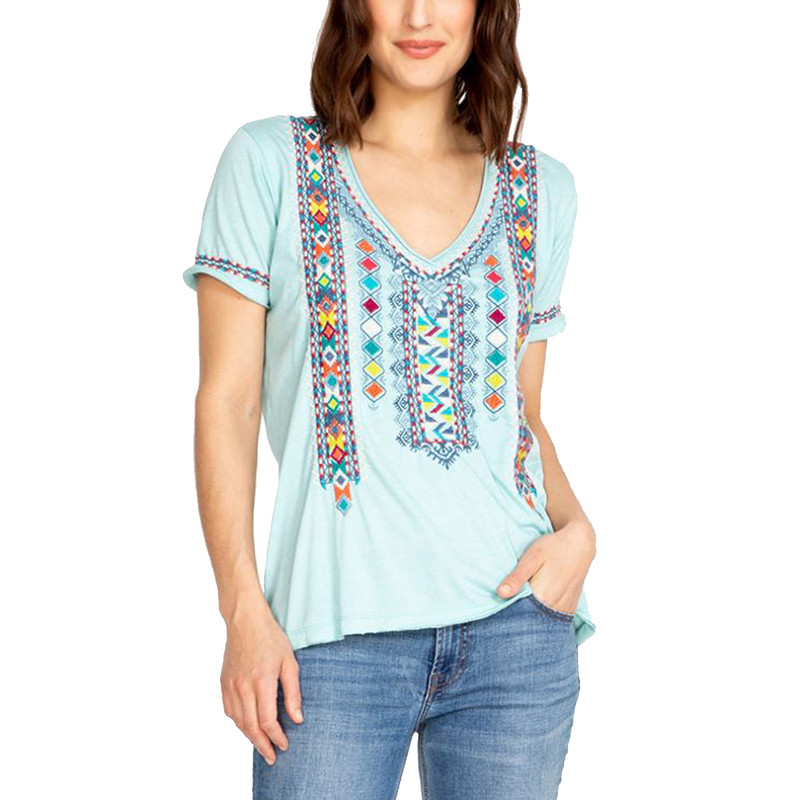 Johnny Was Amaris Everyday Tee in Light Teal Color