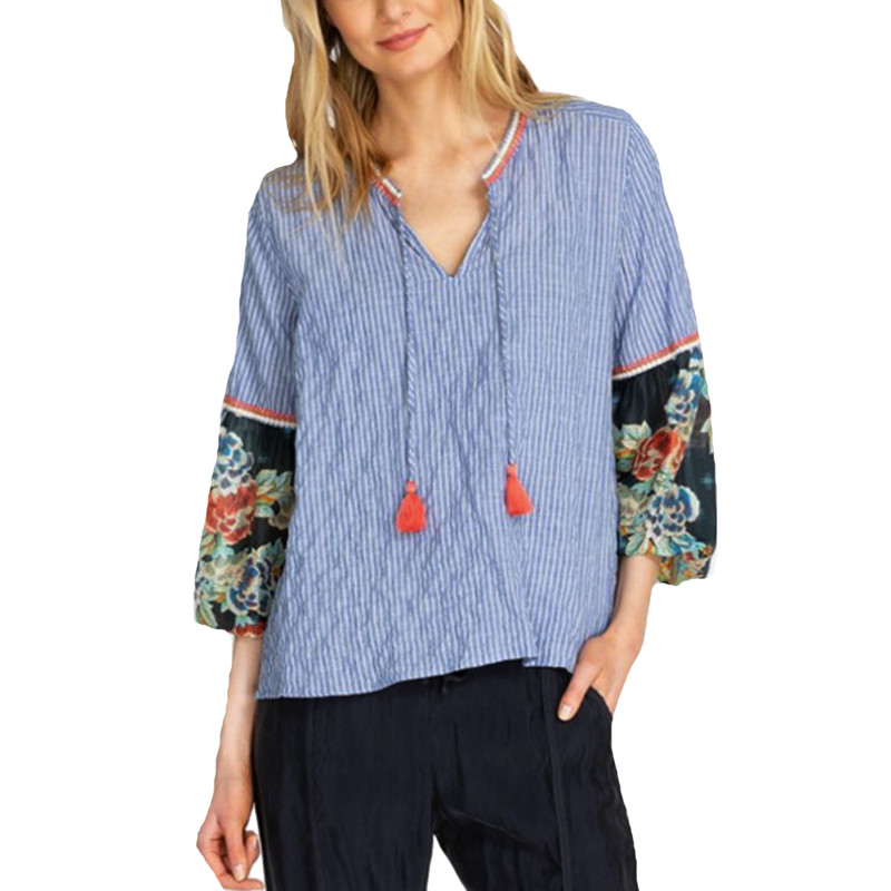 Johnny Was Scarf Mix Blouse in Blue Color